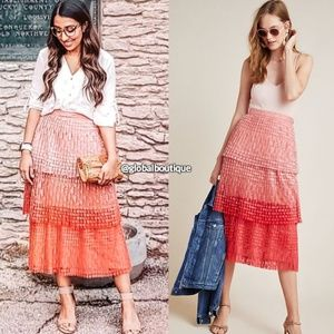 NWT ANTHROPOLOGIE Brighton Lace Tiered Midi Skirt